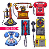 Set of colorful vintage phones Stock Photo