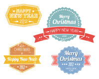 Set of colorful vintage retro Christmas labels. Collection of colorful vintage retro Christmas labels with white lettering Stock Photography