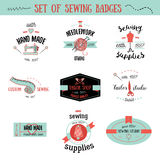 Set of colorful vintage tailor labels, design elements and badges. Sewing shop, needlework signs. Stock Photo