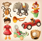 Set of colorful vintage toys for kids. vector illustration