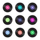 Set of colorful vinyl records stock illustration