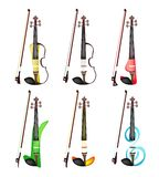 A Set of Colorful Violins on White Background. Music Instrument, Illustration Collection of Six Beautiful and Modern Violins on White Background Stock Images