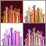 Set of colorful Volunteers caring up hands hearts Royalty Free Stock Images