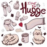 Set of colorful warm winter clothes in the style of Hugge. vector illustration