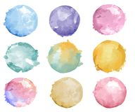 Set of colorful watercolor badge vector Stock Illustration