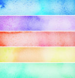 Set of colorful  watercolor banners. Set of colorful  hand drawn watercolor banners Royalty Free Stock Photo