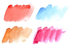 Set of colorful watercolor brush strokes. Isolated on the white background royalty free illustration