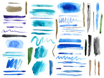 Set of colorful watercolor brush strokes Stock Image