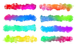 Set of Colorful Watercolor Brush Strokes For Text. Art Stock Photos