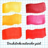 Set of colorful watercolor brush strokes Royalty Free Stock Photo