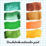 Set of colorful watercolor brush strokes Royalty Free Stock Photos