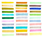 Set colorful watercolor brush strokes Royalty Free Stock Images