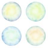 Set of colorful watercolor circle. Royalty Free Stock Photo