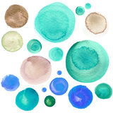 Set of colorful watercolor circles isolated on white. Set of colorful watercolor hand painted circle isolated on white. Watercolor Illustration for artistic Stock Photography
