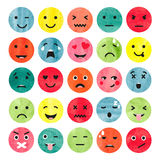 Set of colorful watercolor emoticons. Stock Photos