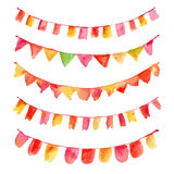 Set of colorful watercolor festive flags. Set of watercolor festive flags Stock Photos