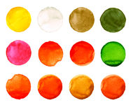 Set of colorful watercolor hand painted circle isolated on white. Illustration for artistic design. Round stains, blobs Stock Photo