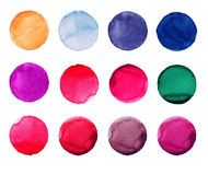 Set of colorful watercolor hand painted circle isolated on white. Illustration for artistic design. Round stains, blobs Royalty Free Stock Image