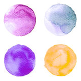Set of colorful watercolor hand painted circle isolated on white. Illustration for artistic design. Round stains, blobs blue, red, Stock Illustration