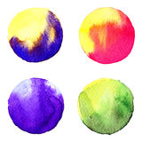 Set of colorful watercolor hand painted circle isolated on white. Illustration for artistic design. Round stains, blobs blue, red, Stock Photo