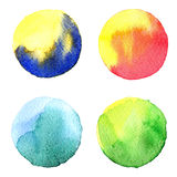 Set of colorful watercolor hand painted circle isolated on white. Illustration for artistic design. Round stains, blobs blue, red, Stock Images