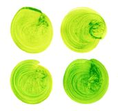 Set of green watercolor hand painted circle isolated on white. Illustration for artistic design. Round stains, blobs Royalty Free Stock Photos
