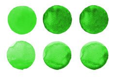 Set of colorful watercolor hand painted circle  on white. Illustration for artistic design. Round stains, blobs green Stock Photography