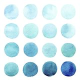 Set of colorful watercolor hand painted round shapes, stains, circles, blobs isolated on white background. royalty free illustration