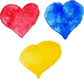 Set of colorful watercolor hearts,  illustration Royalty Free Stock Images