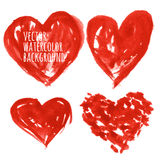 Set of Colorful Watercolor Hearts, vector illustration.  Royalty Free Stock Photo