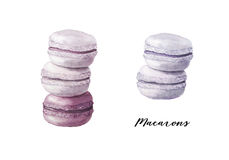 Set of colorful watercolor macarons Royalty Free Stock Photography