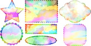 Watercolor Label Borders. A set of colorful watercolor page frames and labels Royalty Free Stock Photography