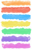 Set of colorful watercolor paint brush strokes Stock Photo