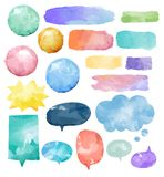 Basic Set of colorful watercolor speech bubbles vector stock illustration