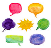 Set of colorful watercolor speech bubbles Royalty Free Stock Photos
