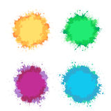 Set of colorful watercolor splashes, frame with place for text. Stock Photography