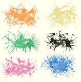 Set of colorful watercolor splashes, stains Stock Photography