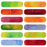 Set of colorful watercolour banners. Royalty Free Stock Images