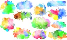 Watercolor Ink Blotches & Splats Stock Photography