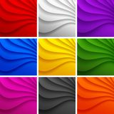Set of 9 Colorful Wavy backgrounds. Stock Images
