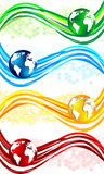 Set colorful wavy banners Stock Photos