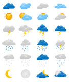 Set of 24 colorful weather icons. Collection of 24 fully editable weather icons - sun, moon, rain, snow, storm, clouds and much more Royalty Free Stock Photo
