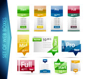 Set of colorful web boxes Stock Images