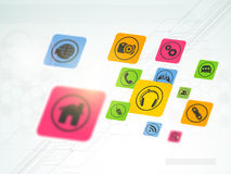 Set of colorful web icons. Colorful web icons on hi-tech background for Technology concept Stock Illustration