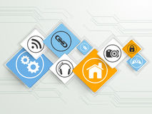 Set of colorful web icons. Colorful web icons on hi-tech background for Technology concept Royalty Free Illustration