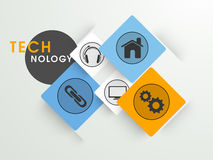 Set of colorful web icons for technology. Set of colorful web icons on shiny background for technology concept Royalty Free Illustration