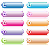 Set of colorful website buttons. With reflection isolated on white background Royalty Free Stock Photo