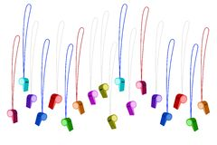 Set of Colorful Whistles on White Background Royalty Free Stock Photos