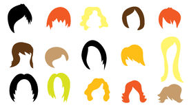 Set of colorful wigs Royalty Free Stock Image