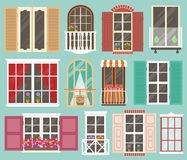 Set of colorful windows with windowsills, curtains, flowers, balconies Stock Photography